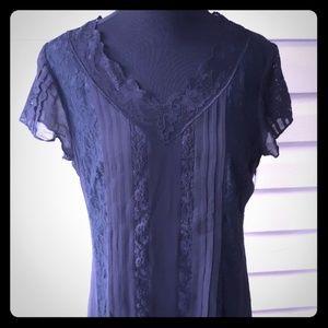 Anthropologie Isabella Bird black lace silk dress